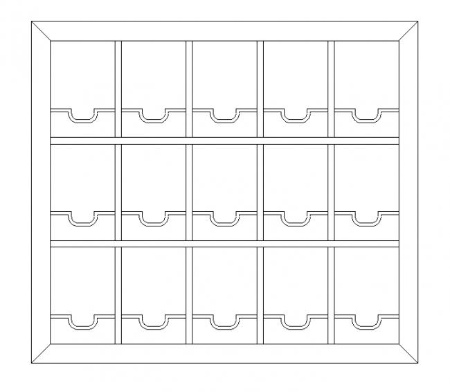 Cupboard for storing wine bottles lying