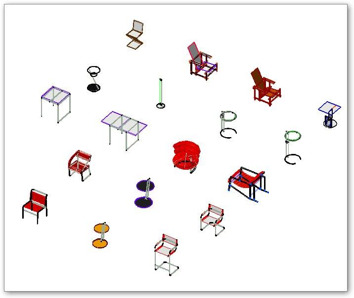 בלוקים אוטוקאד - ריהוט ישיבה - תלת ממד