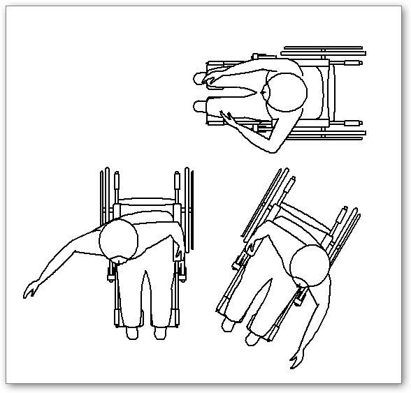 בלוקים אוטוקאד - נכה על כסא גלגלים