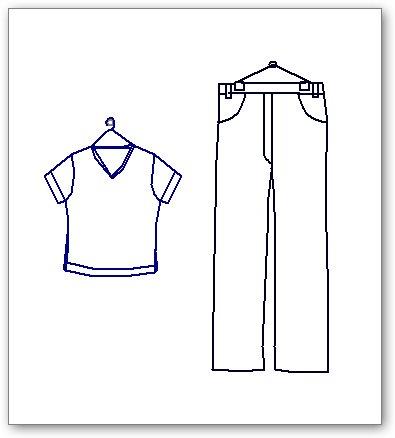בלוקים אוטוקאד - חולצה ומכנסיים על קולב