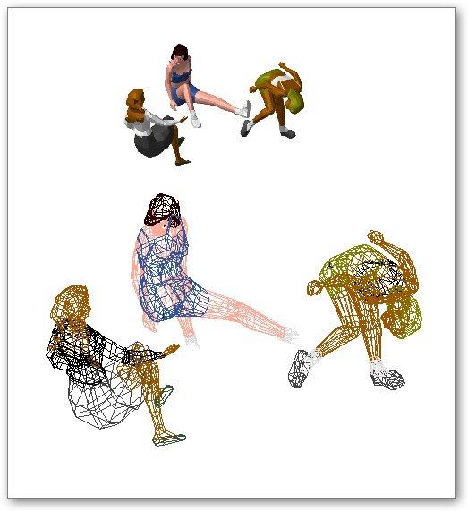 בלוקים אוטוקאד - דמויות נשים בתלת ממד