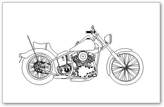 בלוקים אוטוקאד - אופנוע הארלי