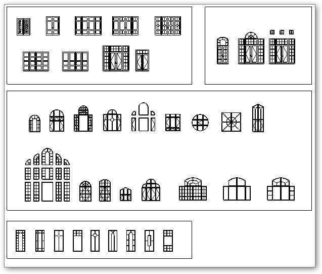 שרטוט חזית חלונות מסוגים שונים
