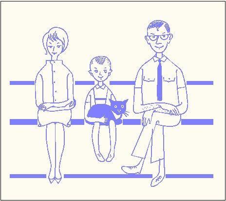 משפחה על ספסל - דו ממד