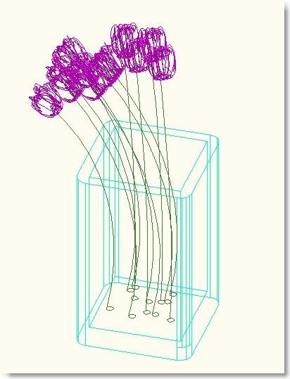בלוק אוטוקאד של פרחים בעציץ בתלת ממד