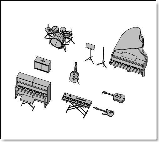 בלוקים של כלי נגינה בתלת ממד